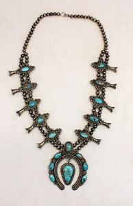 "early Sterling Silver .925 & Turquoise SQUASH BLOSSOM Navajo Necklace 27"" L@@K"