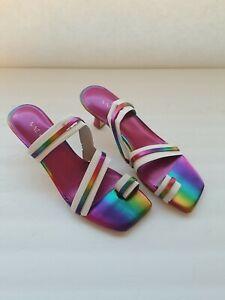 Nine West Applaud womens rainbow slip-on block heel strappy sandal shoes Sz 7.5