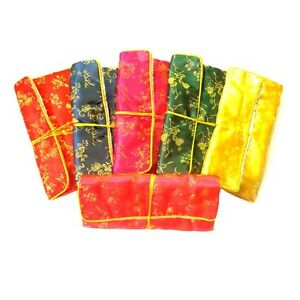 6PCS Mix Color Chinese Silk Zipper Bags Pouches Roll