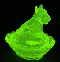 Boyd Art Glass Covered Scottie Dog Salt Vaseline # 8 Made 10-7-2003