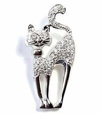 Luxury KITTY CAT PIN BROOCH Sparkling CZs Studded Shiny .925 STERLING SILVER