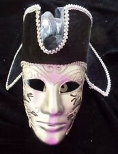 mens NICE NEW NWTSILVER BLACK GLITTER PIRATE FACE MASK BLACK HAT HALLOWEEN @@