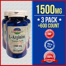 3 Pack L-Arginine 1500mg/per serving size Supply Made USA HIGHEST Pharma Grade