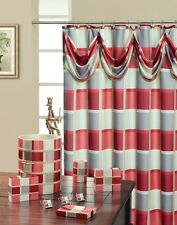 Madison Burgundy High Quality Scarf Shower Curtain Made with 100% polyester.