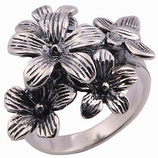Beautiful Butterfly and Flower Ring Sterling Silver 925 Handmade  Size = P