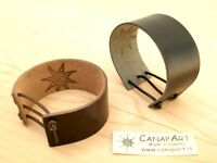 POLSINO PELLE CUOIO LEATHER BRACELET CUFF WOMAN MEN ARTIGIANALE. L30