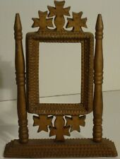 A 2-sided, free-standing tramp art frame. 3 Crosses, wonderful old gold paint.