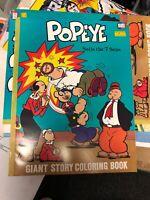 VINTAGE 1980 UNUSED POPEYE GIANT STORY COLORING BOOK JUMBO SUPER NICE