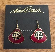 Laurel Burch Tranquility Earrings Burgundy Cloisonne Gold Tone NEW Retired Rare