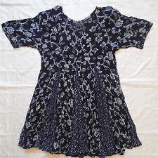 Starina Vintage Dress Small Blue Floral Rayon Short 90s Flare Grunge Boho Gypsy
