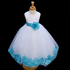 USA FREE SHIPPING WEDDING WHITE GIRL DRESS FLOWER PAGEANT COMMUNION EASTER NEW