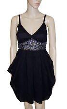 NEW! Midnight Black Floaty Chiffon Sparkly Empire Line Knee Length Party Dress