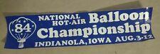 1984 Indianola Iowa US National Hot Air Balloon Championships bumper sticker