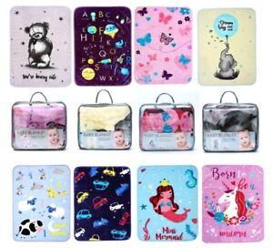 Kids Baby Animal Print Super Soft Baby Blanket Pram Cot Bed Baby Blankets Throws