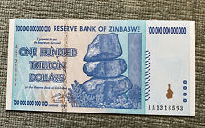 More details for zimbabwe banknote. 100 trillion dollars. uncirculated. harare 2008 aa prefix