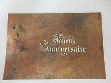 ANTIQUE 1900s pastry chef  COPPER flimsy JOYEUX ANNIVERSAIRE .HAPPY BIRTH CAKE