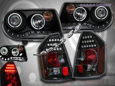 05-07 CHRYSLER 300C PROJECTOR HEADLIGHTS BLACK CCFL HALO & BLACK LED TAIL LIGHTS