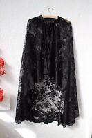 Vintage Cape Victorian Black Lace Floor Length Gothic Wedding Mourning