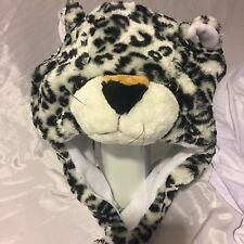 Cartoon Animal Leopard Cute Fluffy Plush Warm Hat Cap Scarf Earmuff Mascot USA