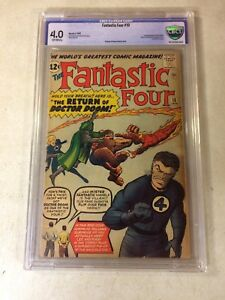 FANTASTIC FOUR #10 CBCS 4.0  KEY ISSUE, DOCTOR DOOM, 1963 HUMAN TORCH