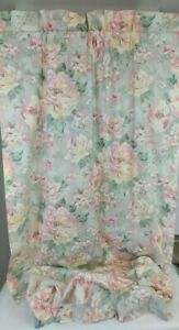 """Croscill Cotton Chintz Floral Drapes Curtains Weighted Lined Green Pink 2@40x86"""""""