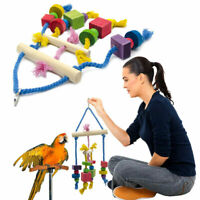 Large Parrot Pet Bird Toys Perch Budgie Cockatiel Chew Hanging Swing Wooden New
