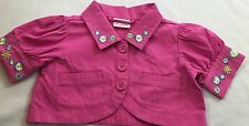 Hanna Andersson Size 110 Pink Floral Embroidery Cropped Shrug Jacket