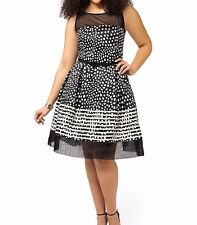 Taylor Dresses Semi Floral Polka Dot Fit And Flare Dress With Stripes Size 14W