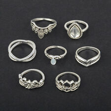 7pcs PUNK Vintage Boho Finger Knuckle Ring Band Pearl Midi Rings Stacking Ring