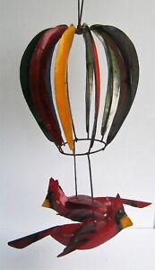 METAL ART HOT AIR BALLOON WIND SPINNER WITH CARDINAL RED BIRDS