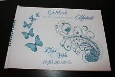 Gästebuch mit Strasssteine zur Hochzeit , blau türkis