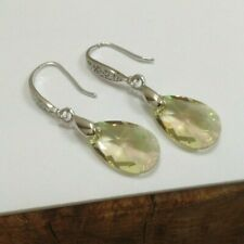 Pale Green Drop Earrings – Made with Swarovski Elements & 925 Sterling Silver