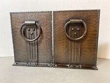 Pair of Roycroft Arts & Crafts Hammered Copper Door Knocker Bookends