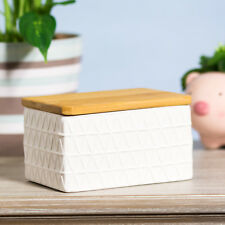 White Geometric Butter Dish with Bamboo Lid Ceramic Dining Table Serving Bowl