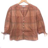 MADEWELL Morningview Tie Sleeve Shirt Orange Plaid Button Down 3/4 Sleeve XXS