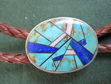 turquoise mosaic bolo #637 sterling silver
