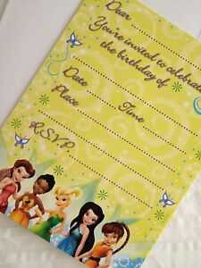 NEW: 8 DISNEY FAIRIES TINKERBELL INVITATIONS & ENVELOPES (BIRTHDAY PARTY/OTHER)