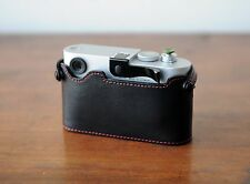 Zhou Black Half Case Red Stitch w/o LCD CutOut f/ Leica M8 M9 M9P ThumbsUp Grip