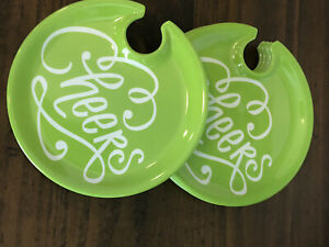 appetizer and wine holder plates. Green Color with cheers written In White