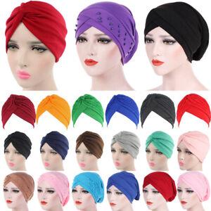 Women Turban Chemo Hair Head Hijab Cap Muslim Wrap Stretch Hat Scarf Headwear UK