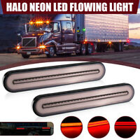 2x Halo LED Stop Flowing Turn Signal Indicator Tail Light Caravan Truck Trailer