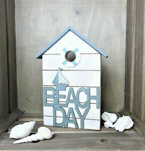 Haus Strandhaus Maritime Deko Aufsteller Holzdeko Beach Holz blau weiß 20 cm
