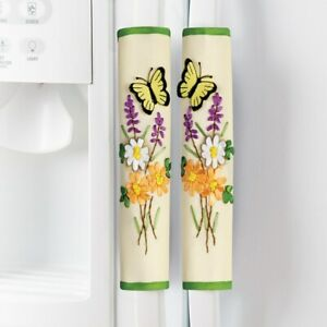 Set of 3 Spring Butterfly & Floral Kitchen Appliance Handle Covers