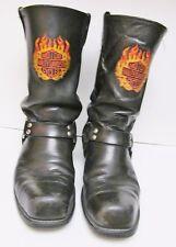HARLEY-DAVIDSON Leather Harness Engineer Biker Boots Flames Steel Toe Black 12D