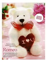 Easy to knit knitting pattern Romeo Teddy bear 30 cm. Red hart Valentine toy.