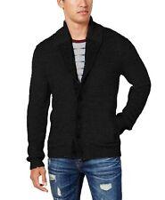 American Rag Mens Textured Shawl Cardigan (Black, Large)