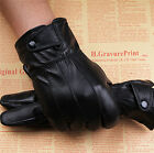 New Luxury Men Black 100% Genuine Lambskin Leather Gloves Cashmere Lined
