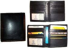 Lot of 3 Men's wallet Genuine Leather Hipster bifold Black, Men's billfold, BNWT