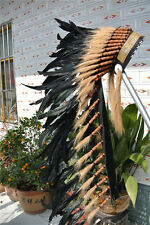 36INCH BLACK indian feather headdress war bonnet American costume for halloween