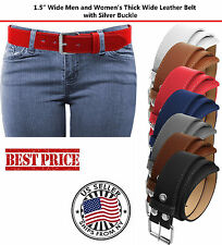 Snap-On Women's Thick Wide Leather Removable Roller Silver Buckle Color Belt US